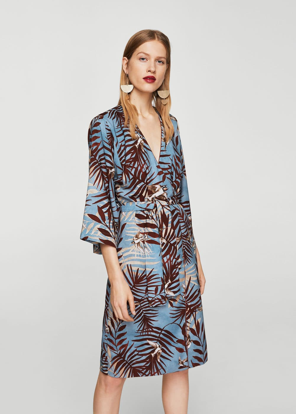 Leaf print dress | MANGO