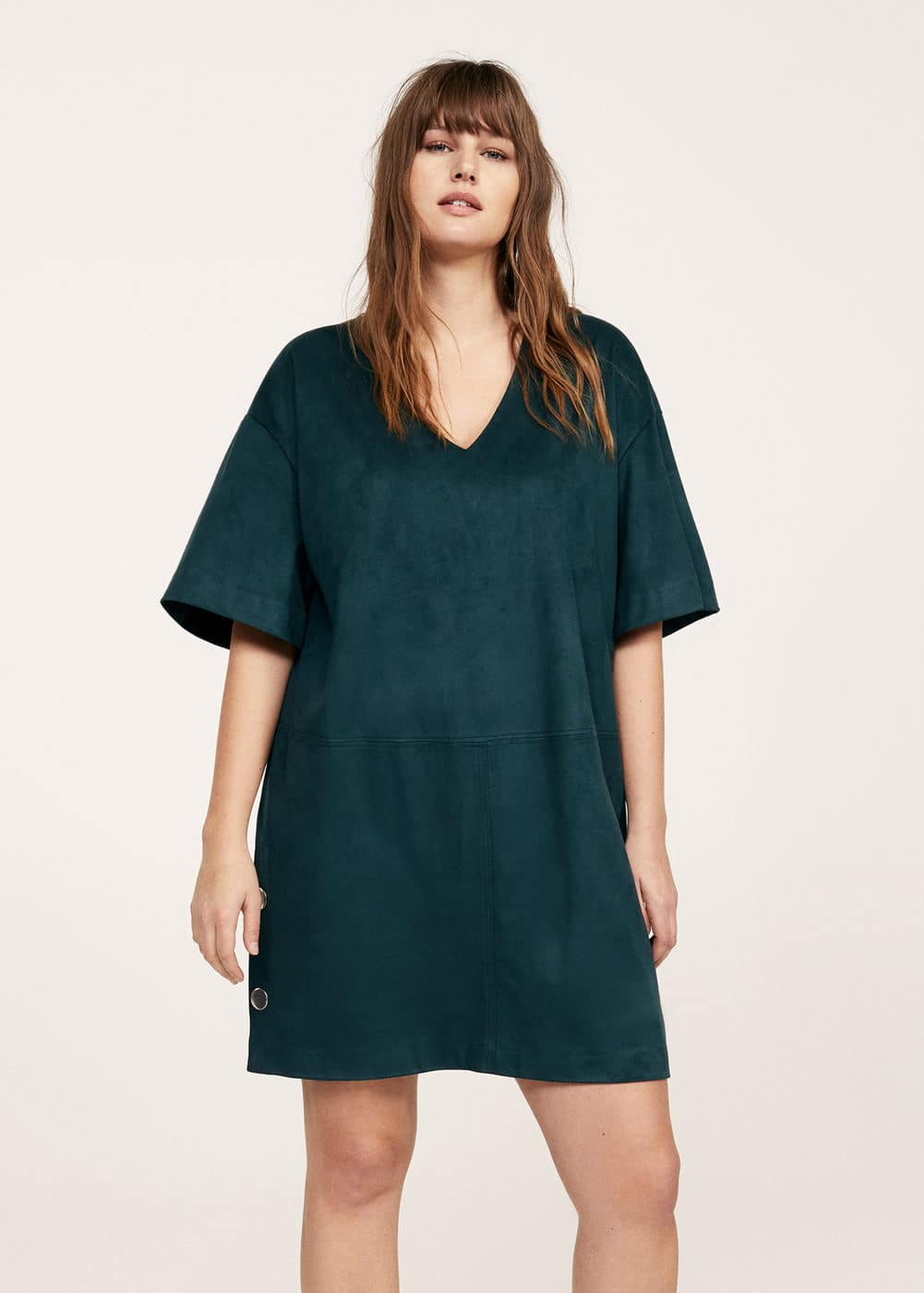 Buttons faux suede dress | VIOLETA BY MANGO