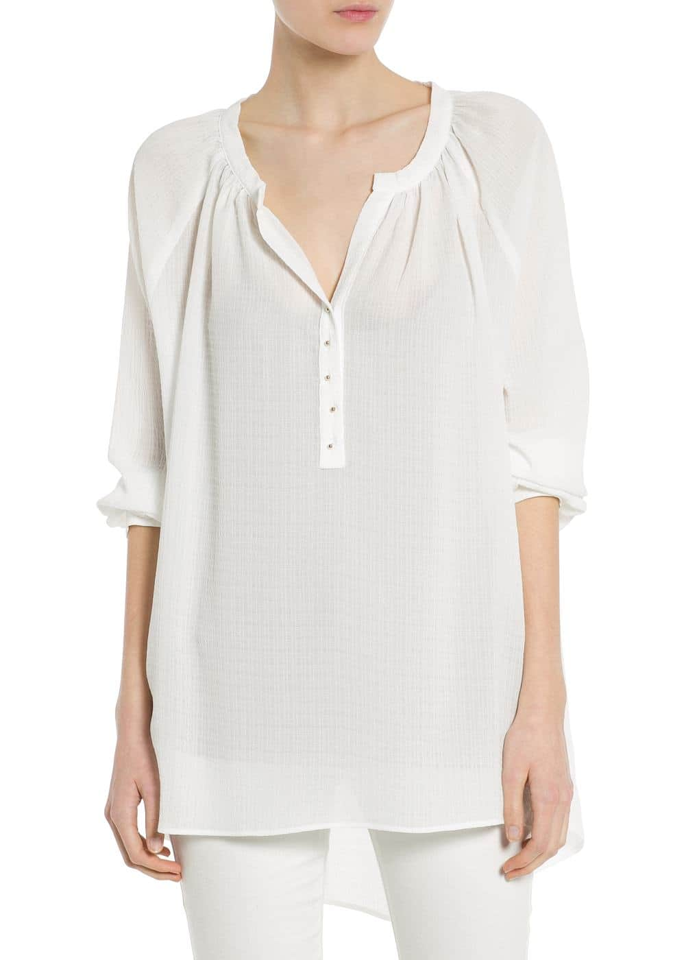 Textured asymmetric blouse | MANGO