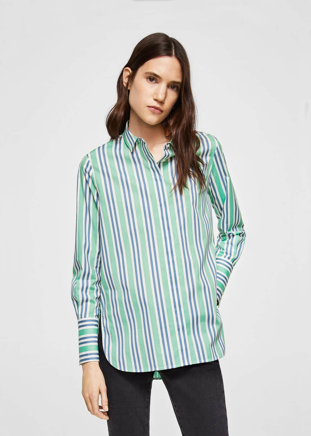 Stripe-patterned shirt | MANGO