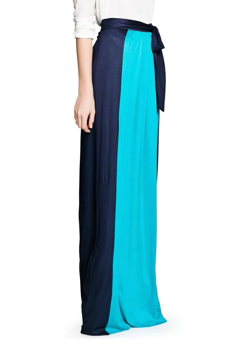 Color block long skirt | MANGO