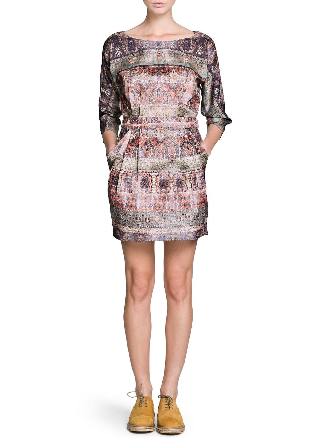 Faded paisley print dress | MANGO