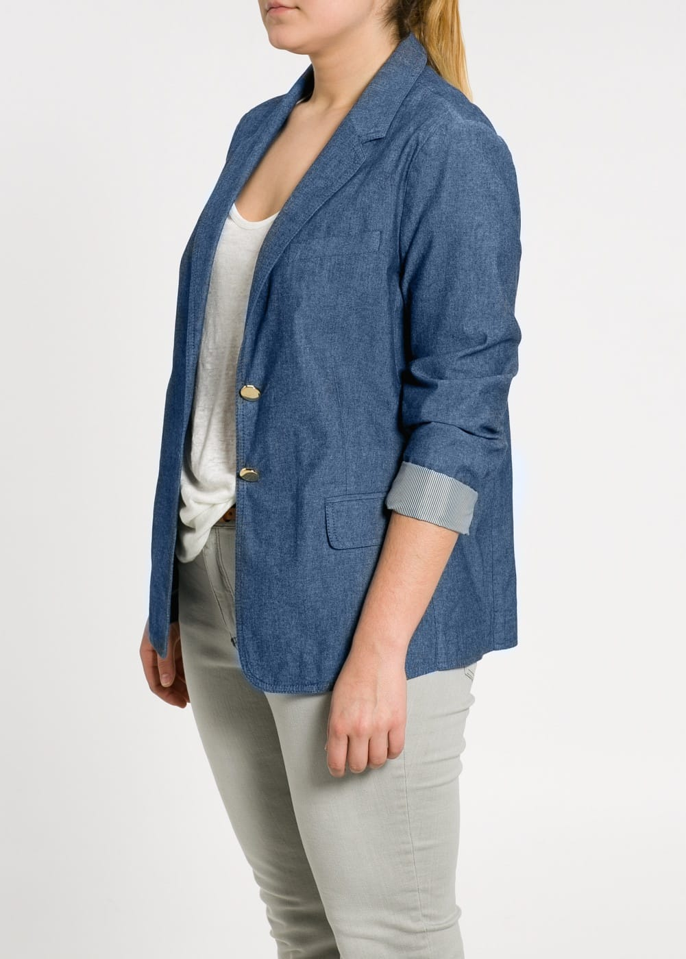 Chambray cotton blazer | VIOLETA BY MANGO