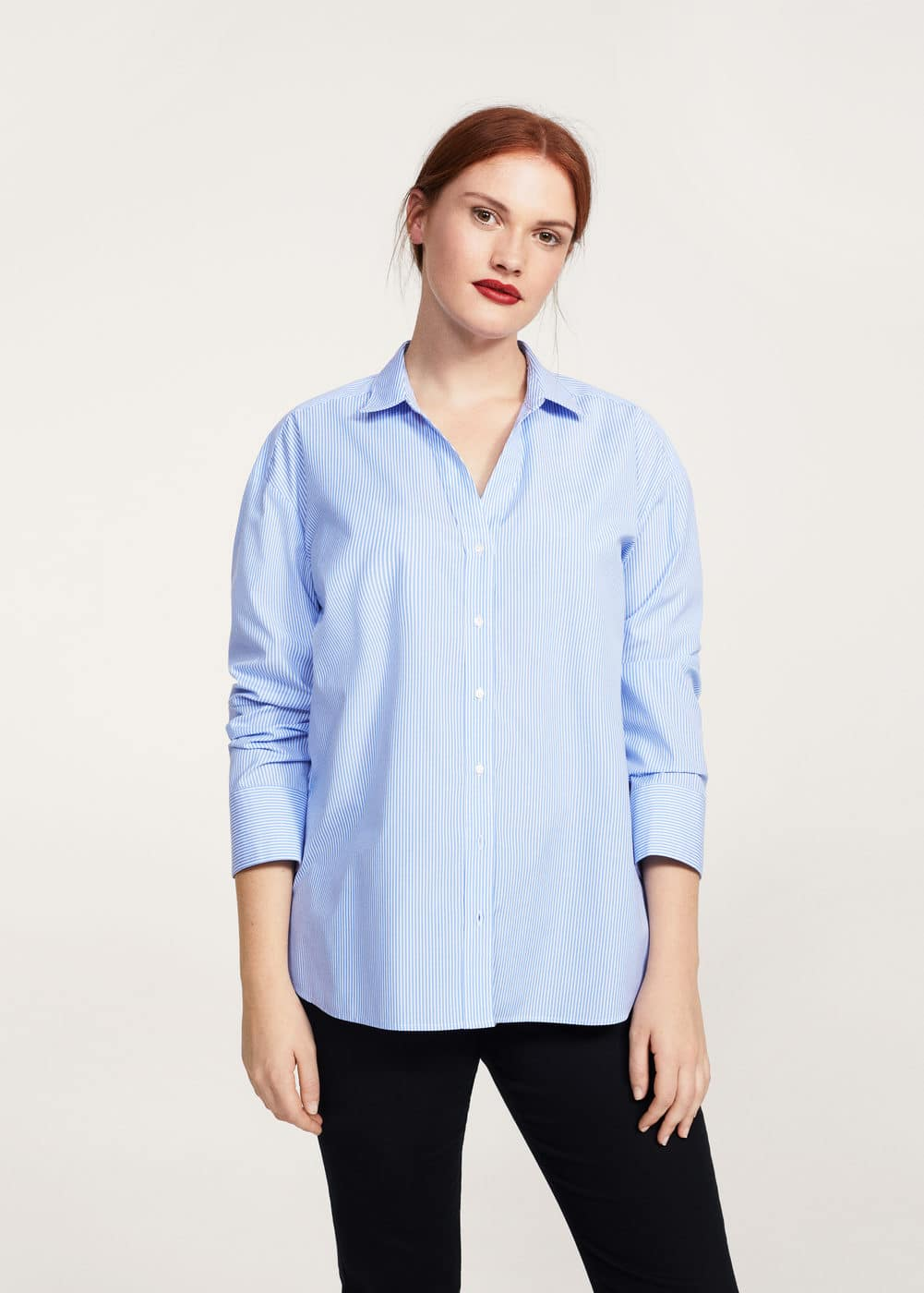 Fine-stripe shirt | VIOLETA BY MANGO