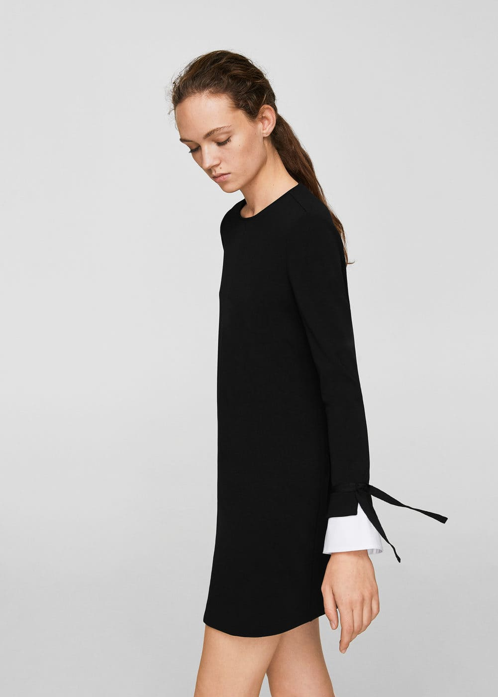 Contrast sleeve dress | MANGO