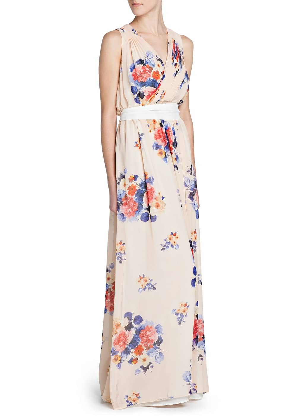 Floral print chiffon long dress | MANGO