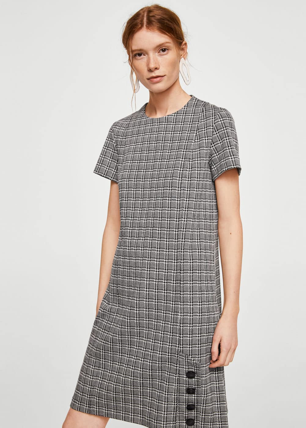 Buttoned check dress | MNG