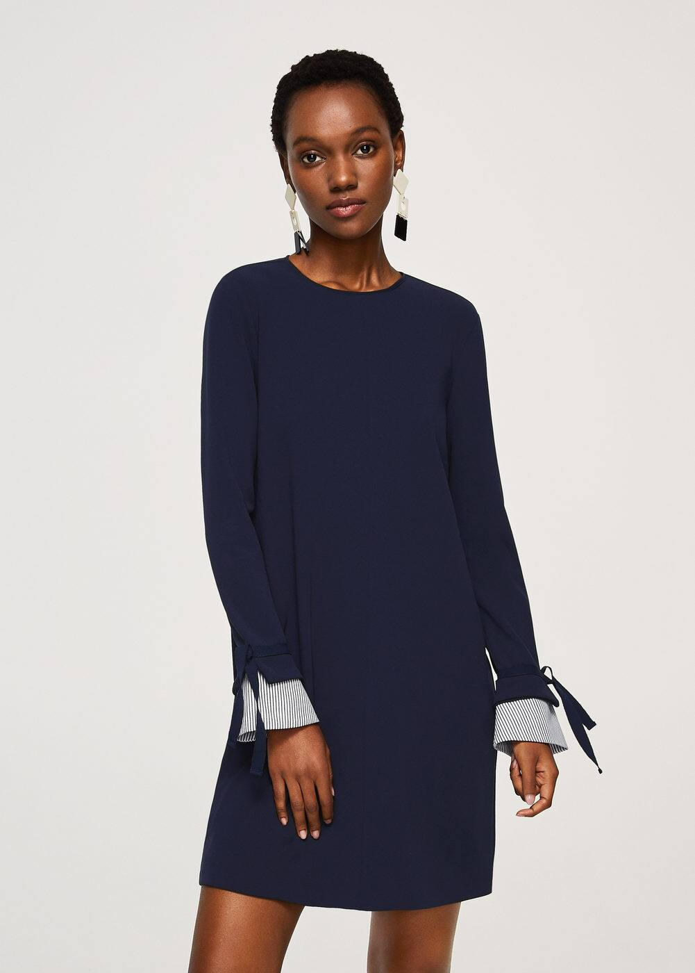 Striped sleeve appliqué dress | MANGO