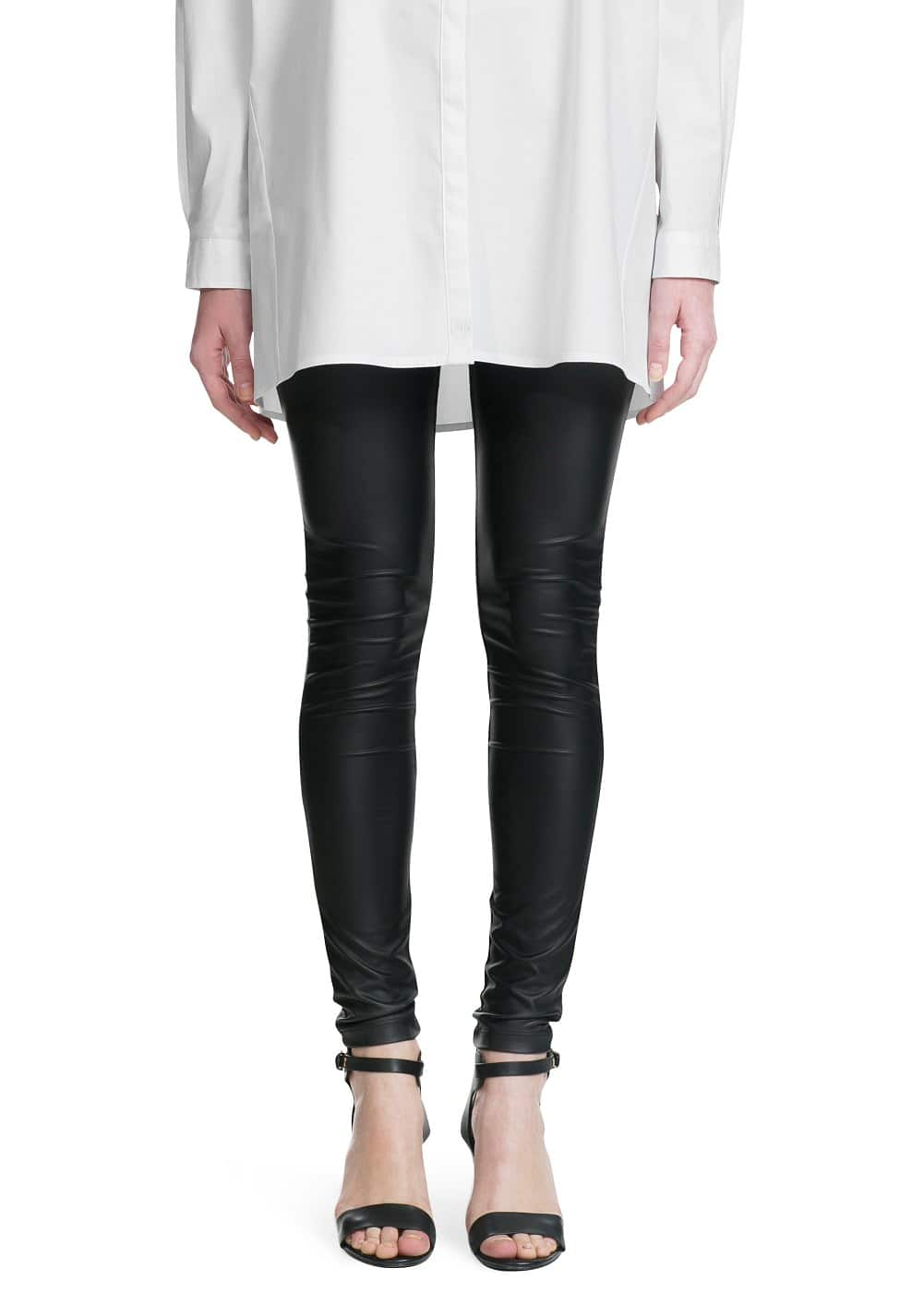 Leather effect leggings | MANGO