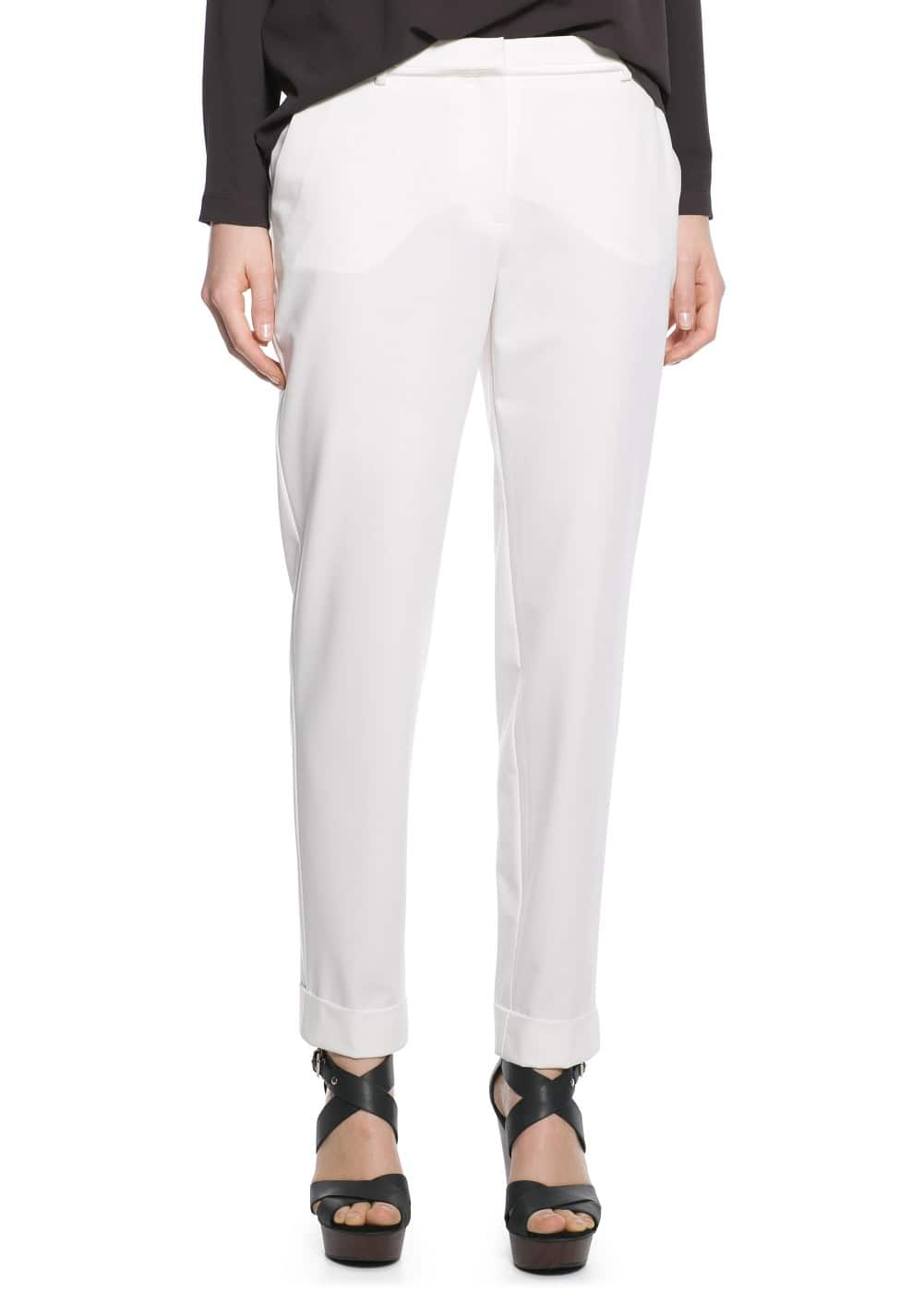 Satin trim trousers | MANGO