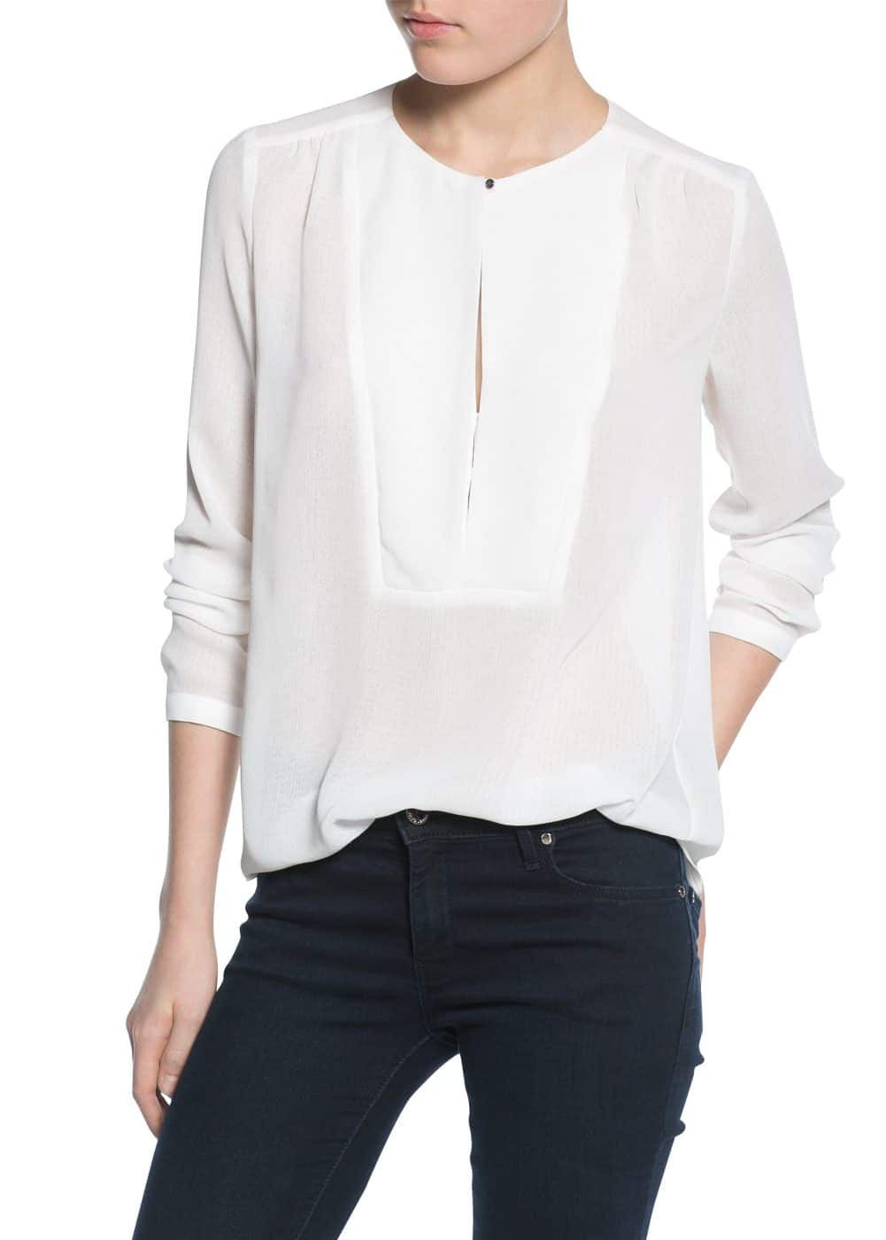 Panel textured blouse | MANGO