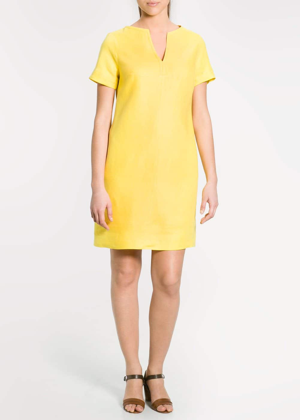 Color linen dress | MANGO