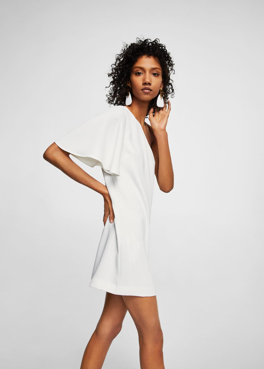 Asymmetrical sleeve dress | MANGO