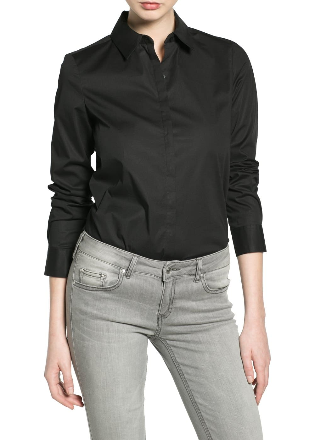 Cotton fitted shirt | VIOLETA BY MANGO