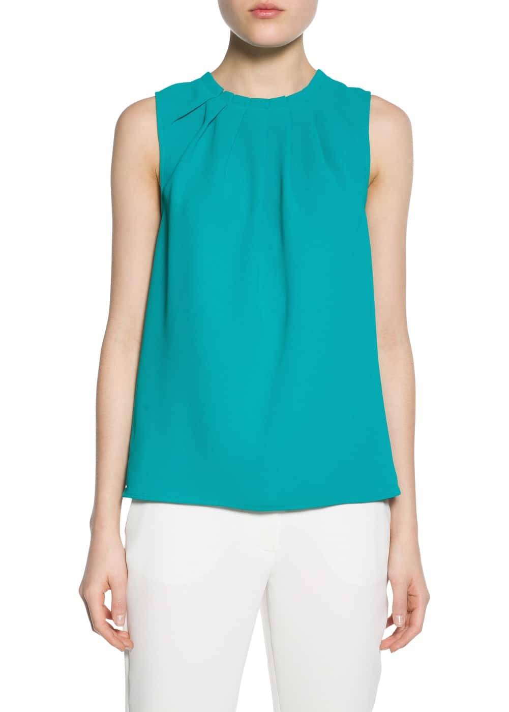 Pleated neck crepe blouse | MANGO