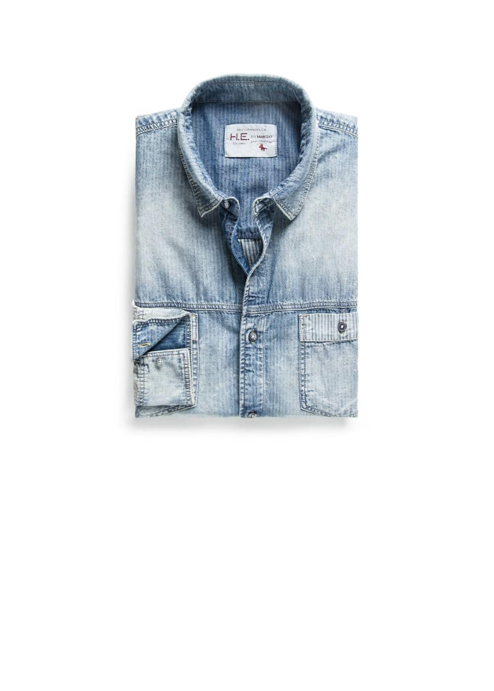 Camisa classic-fit denim rayas | MANGO MAN