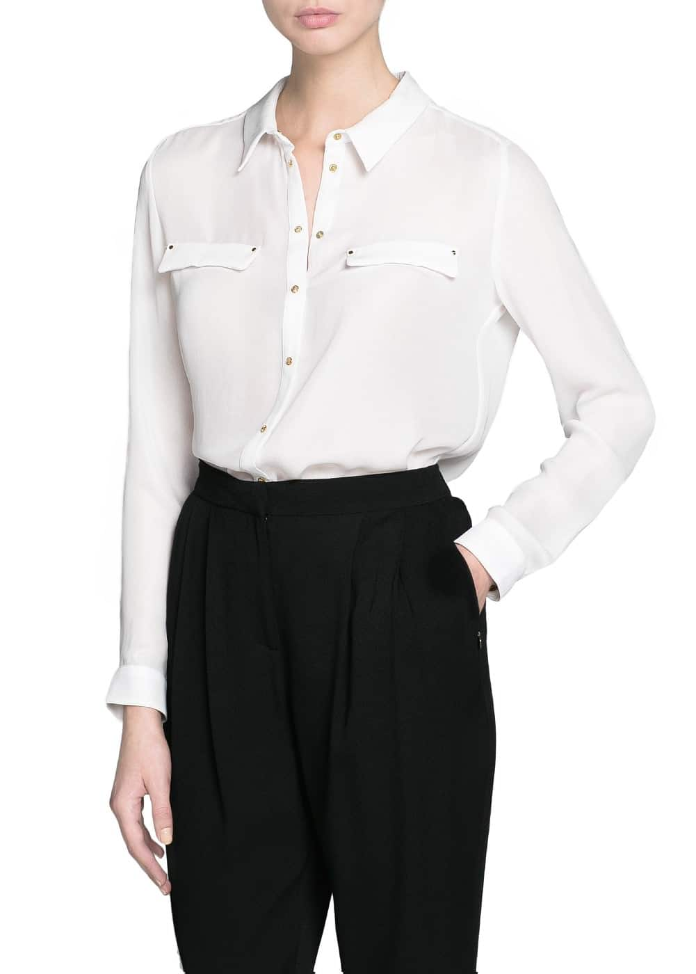 Metallic button flowy shirt | MANGO