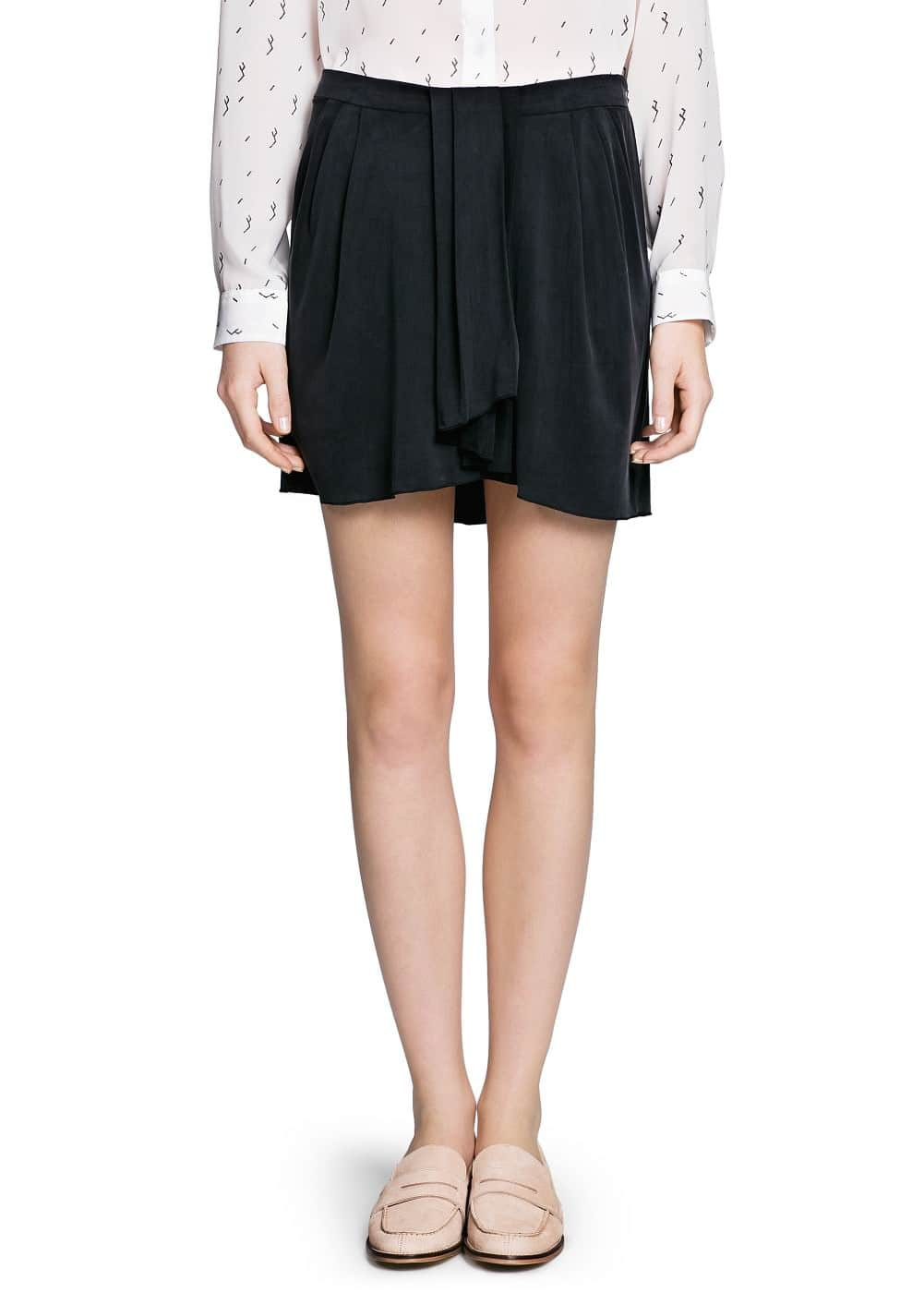 Draped cupro skirt | MANGO