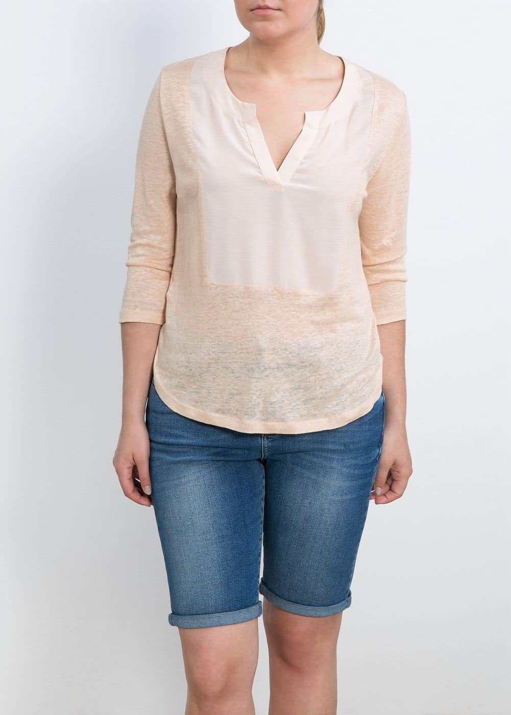 Panel linen blouse | MANGO