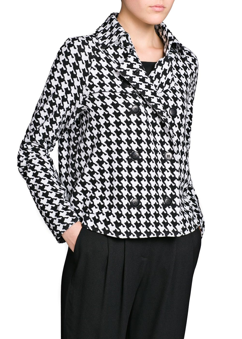 Houndstooth cotton-blend jacket | MANGO