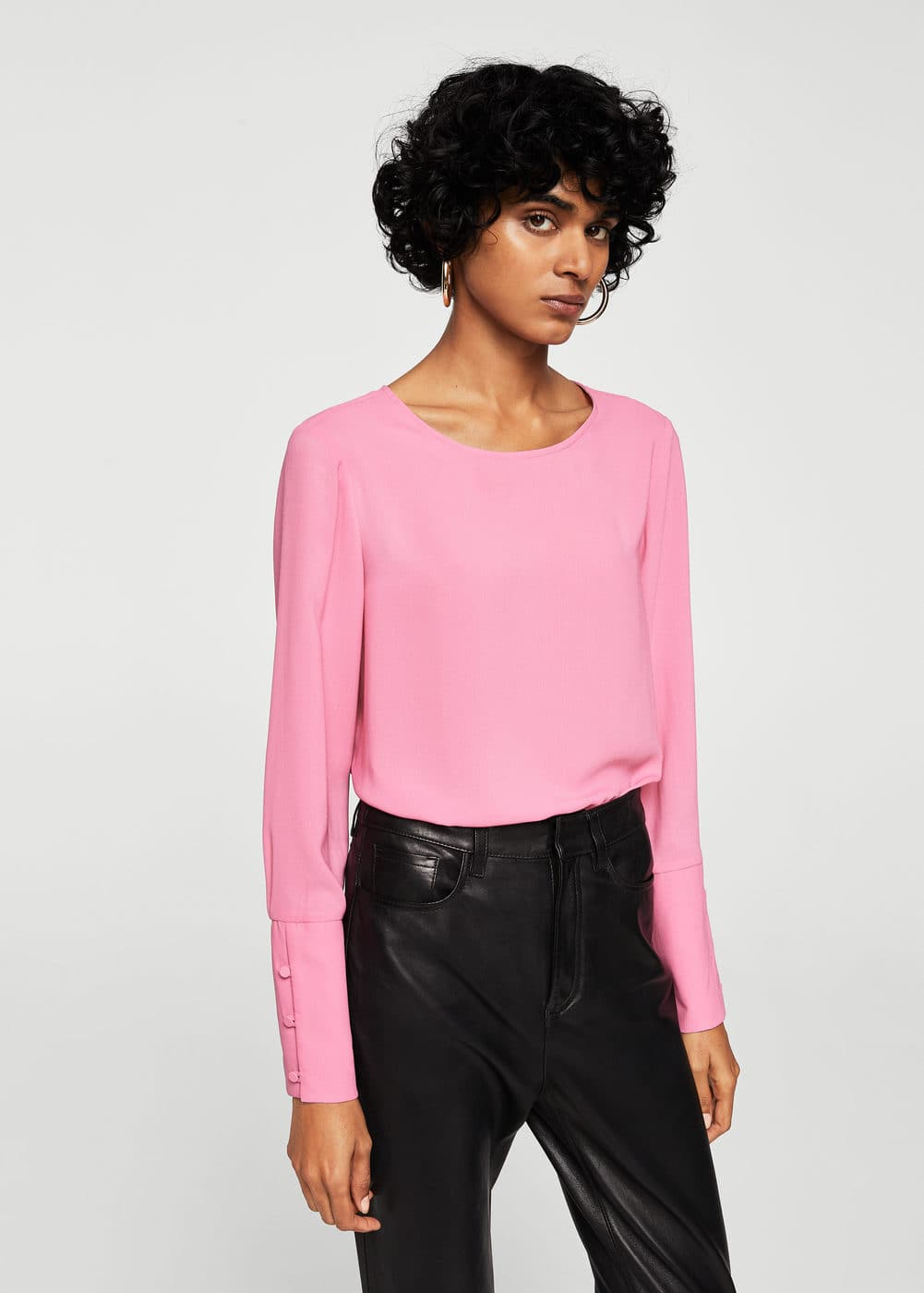 Buttoned sleeves blouse | MANGO