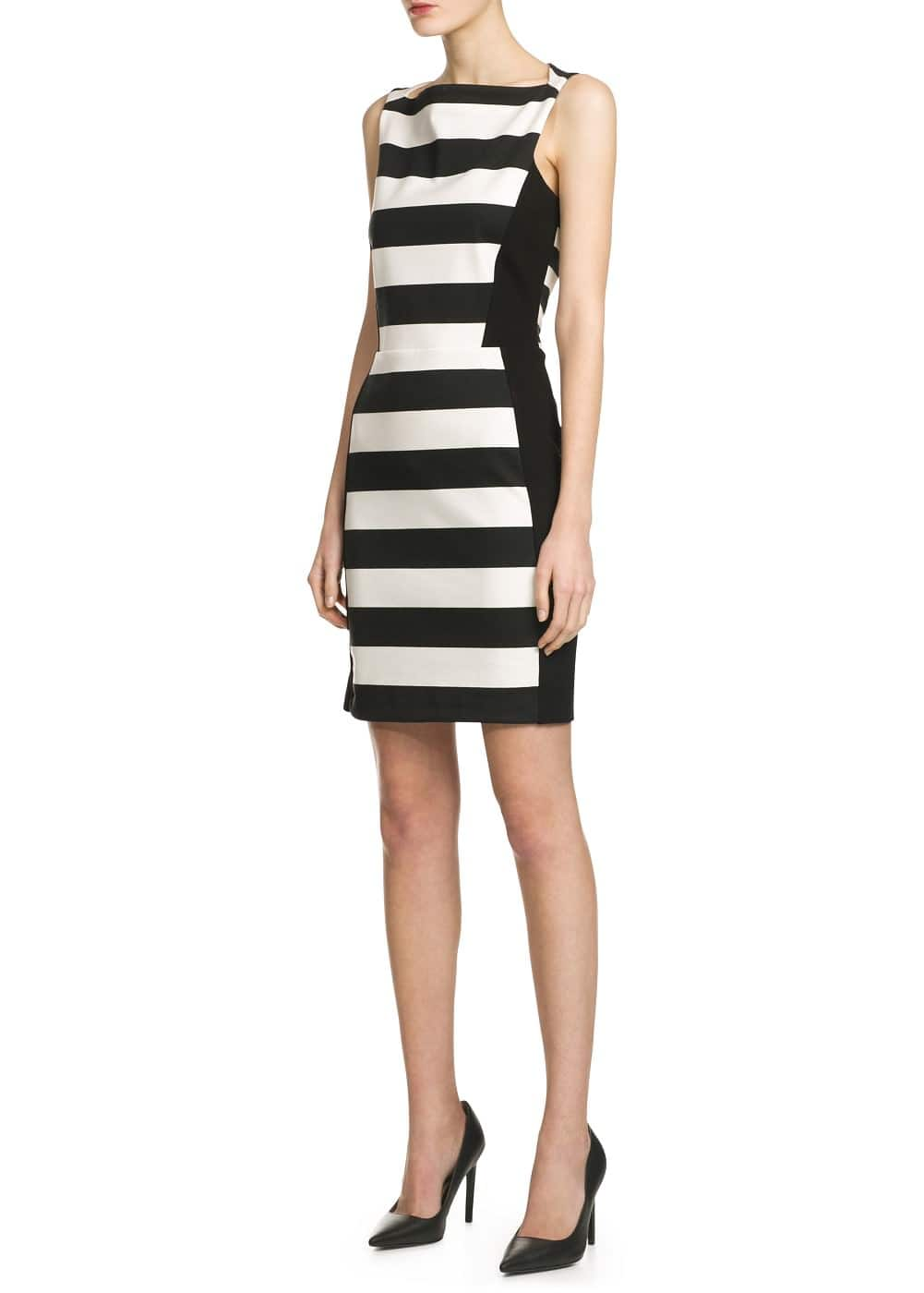 Monochrome striped dress | MANGO
