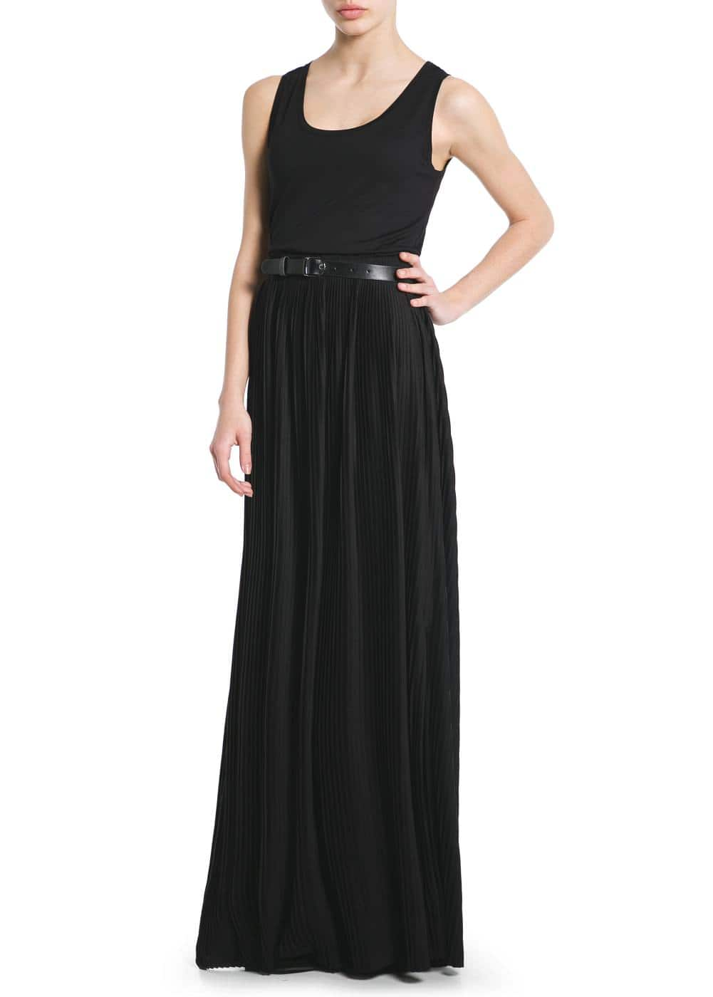 Contrast bodice long dress | MANGO
