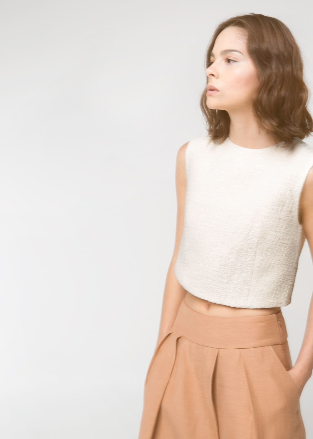 Premium - textured cropped top | MANGO
