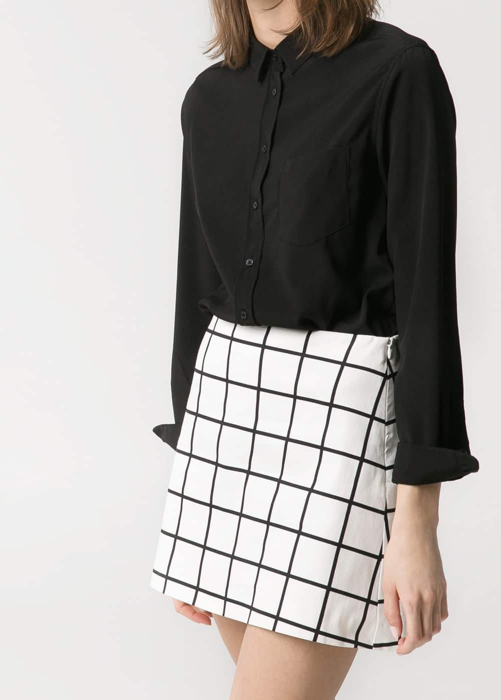 Check monochrome skirt | MANGO