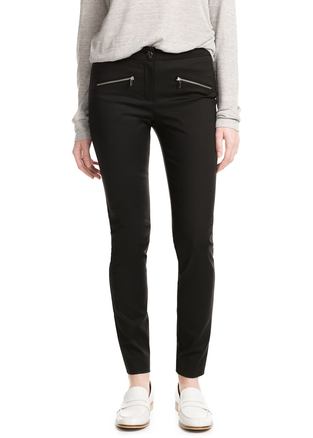 Zip stretch trousers | MANGO