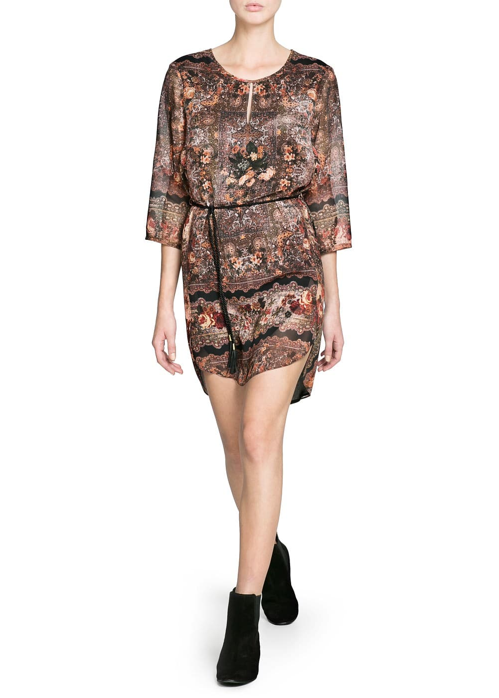 Paisley print chiffon dress | MANGO