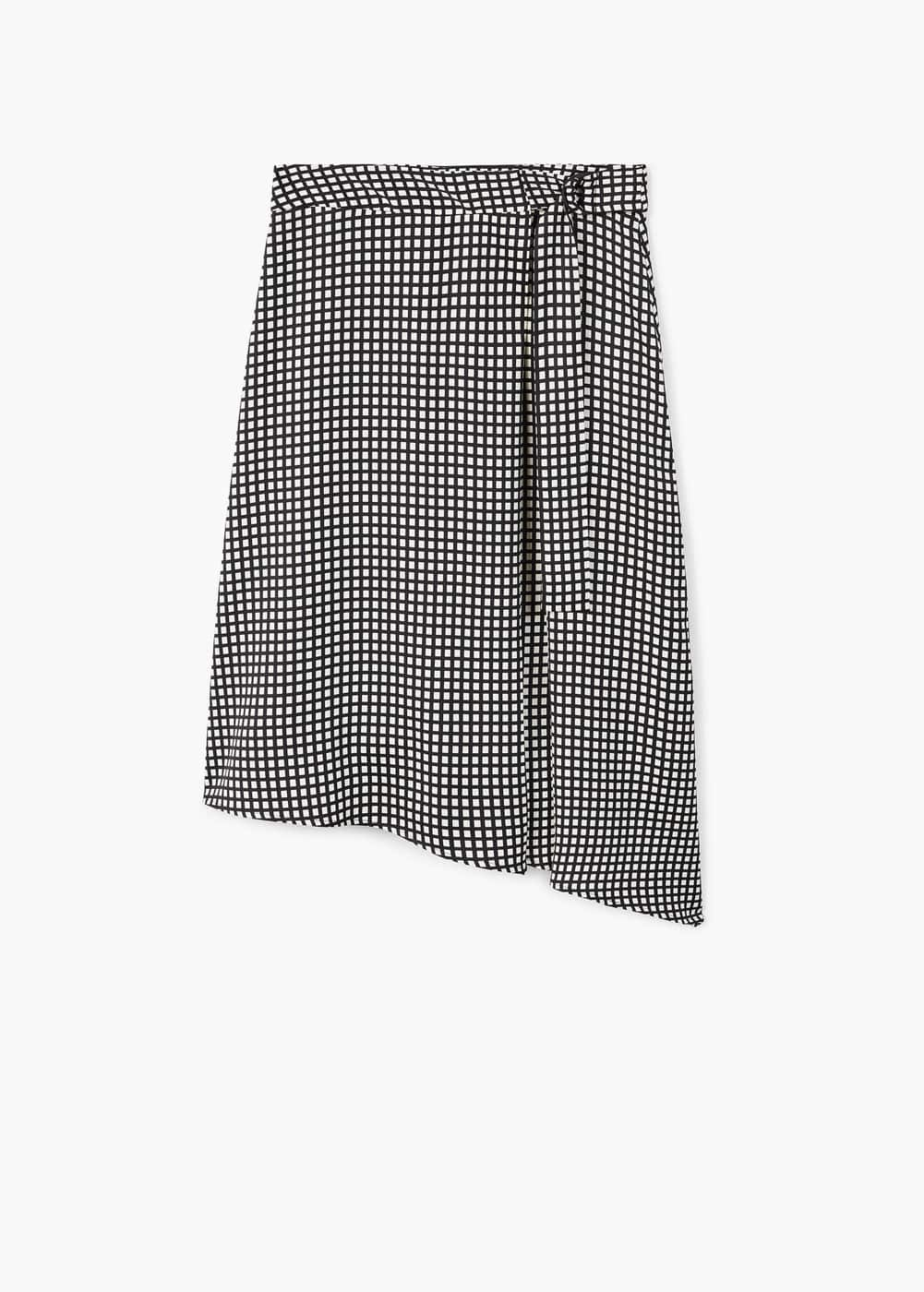 Checkered asymmetric skirt | MANGO