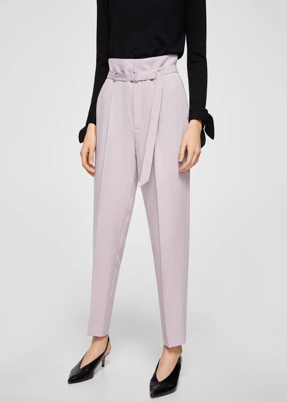 Buckle high-waist trousers | MANGO