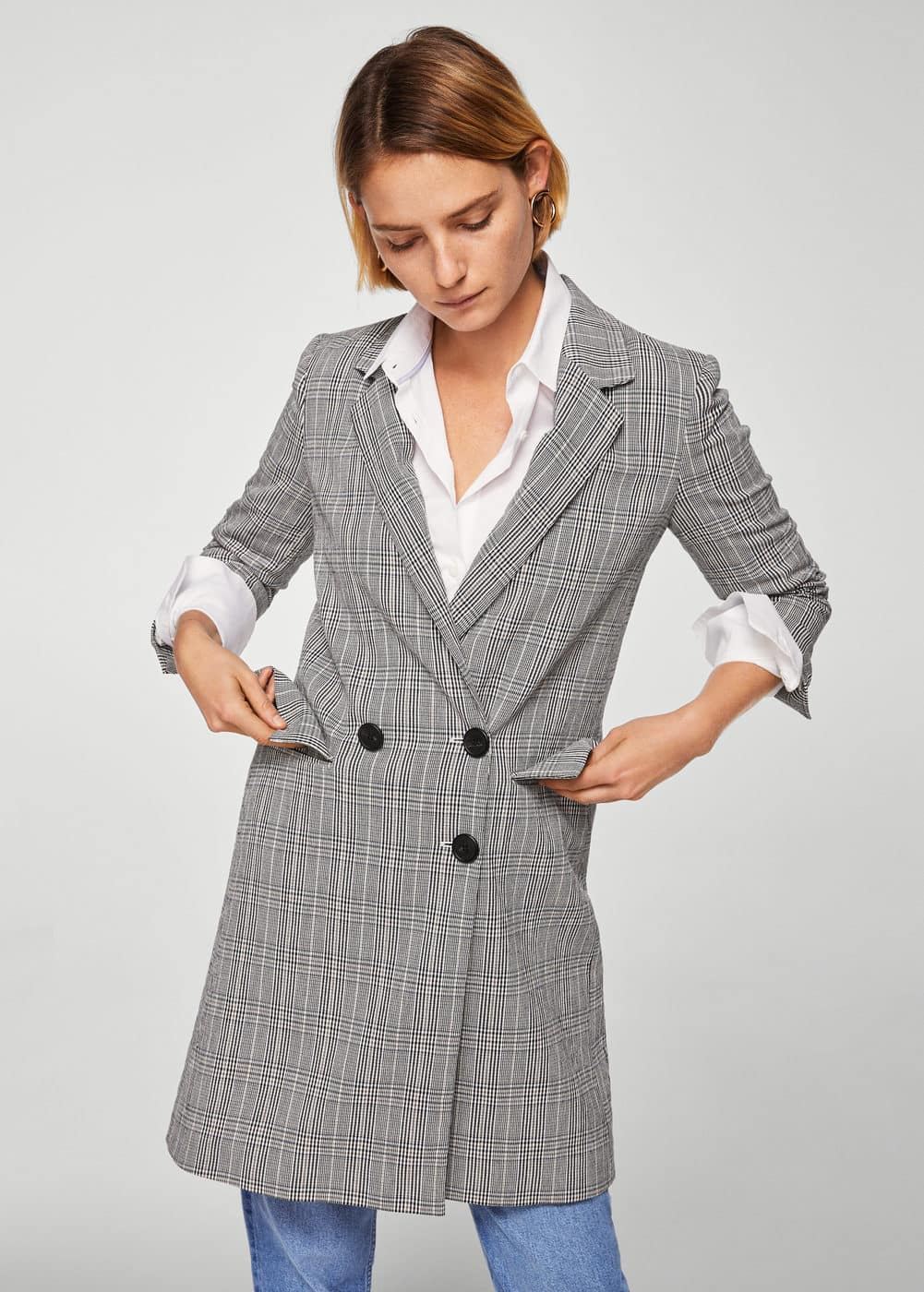 Checked structured coat | MANGO