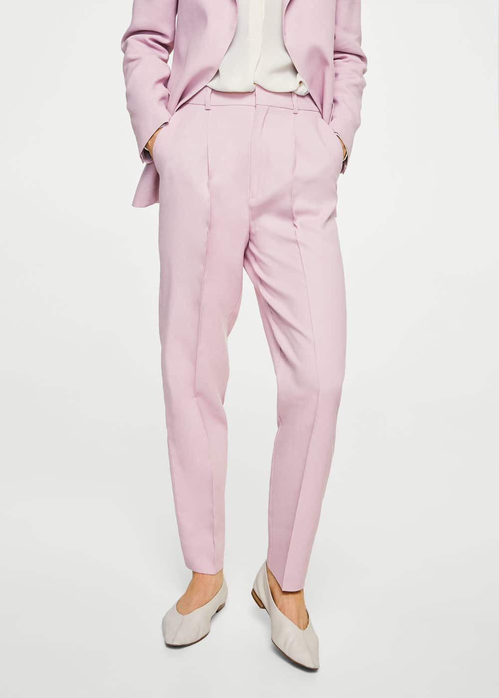 Linen high-waist trousers | MNG