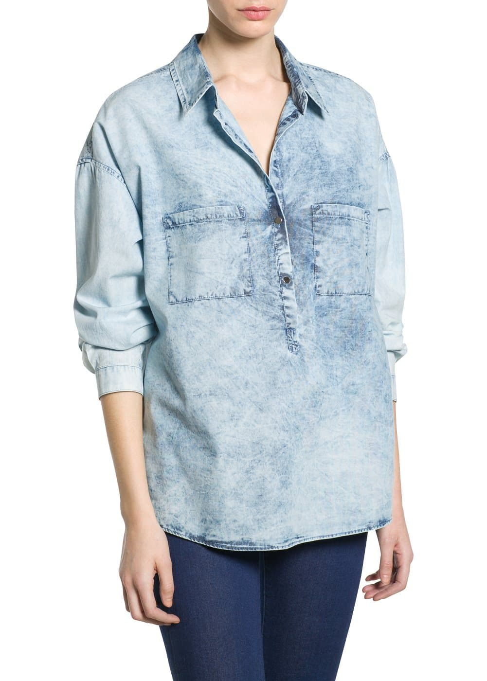 Chemise denim bleach | MANGO