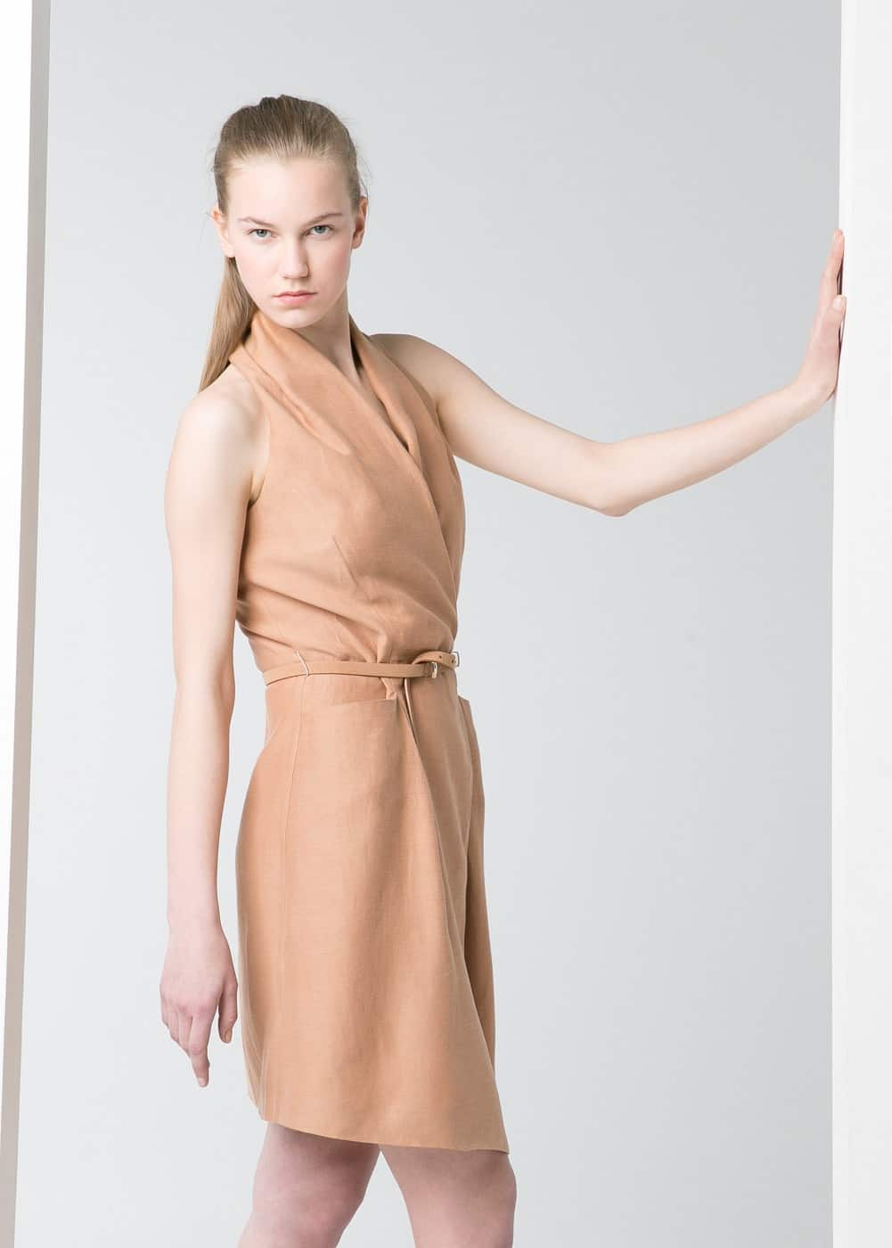 Premium - linen-blend wrap dress | MANGO