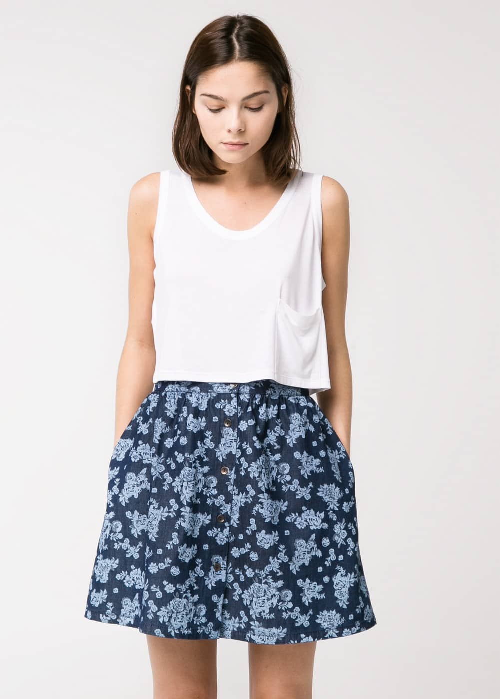 Flower denim skirt | MANGO