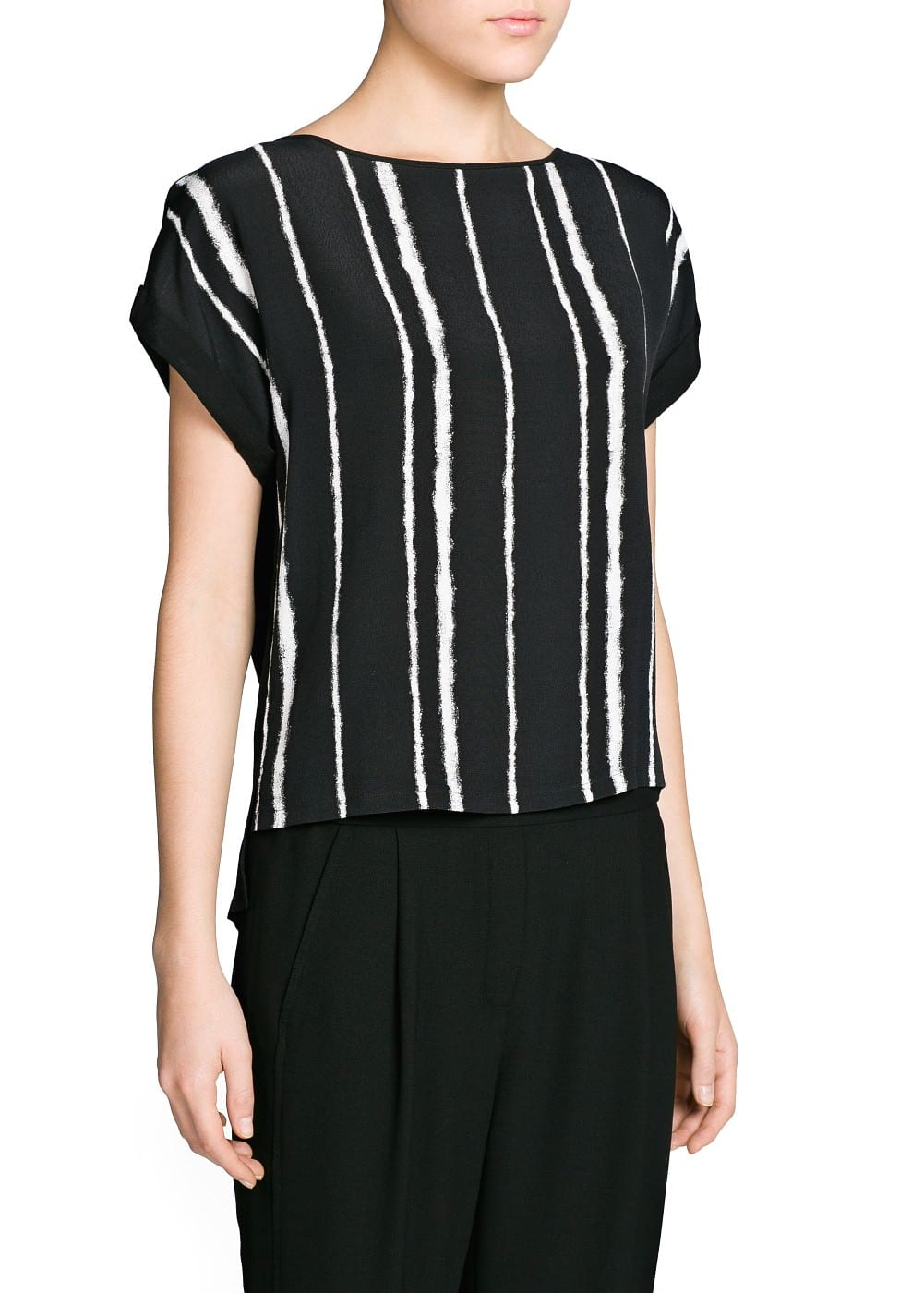 Bicolor striped crepe blouse | MANGO
