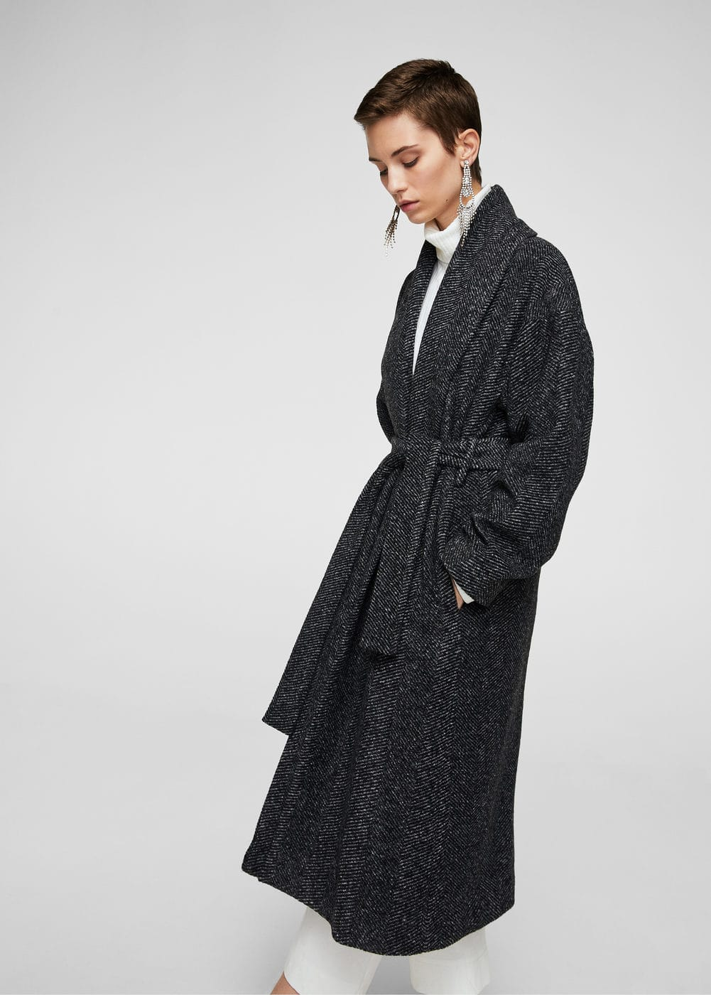 Herringbone flecked coat | MANGO