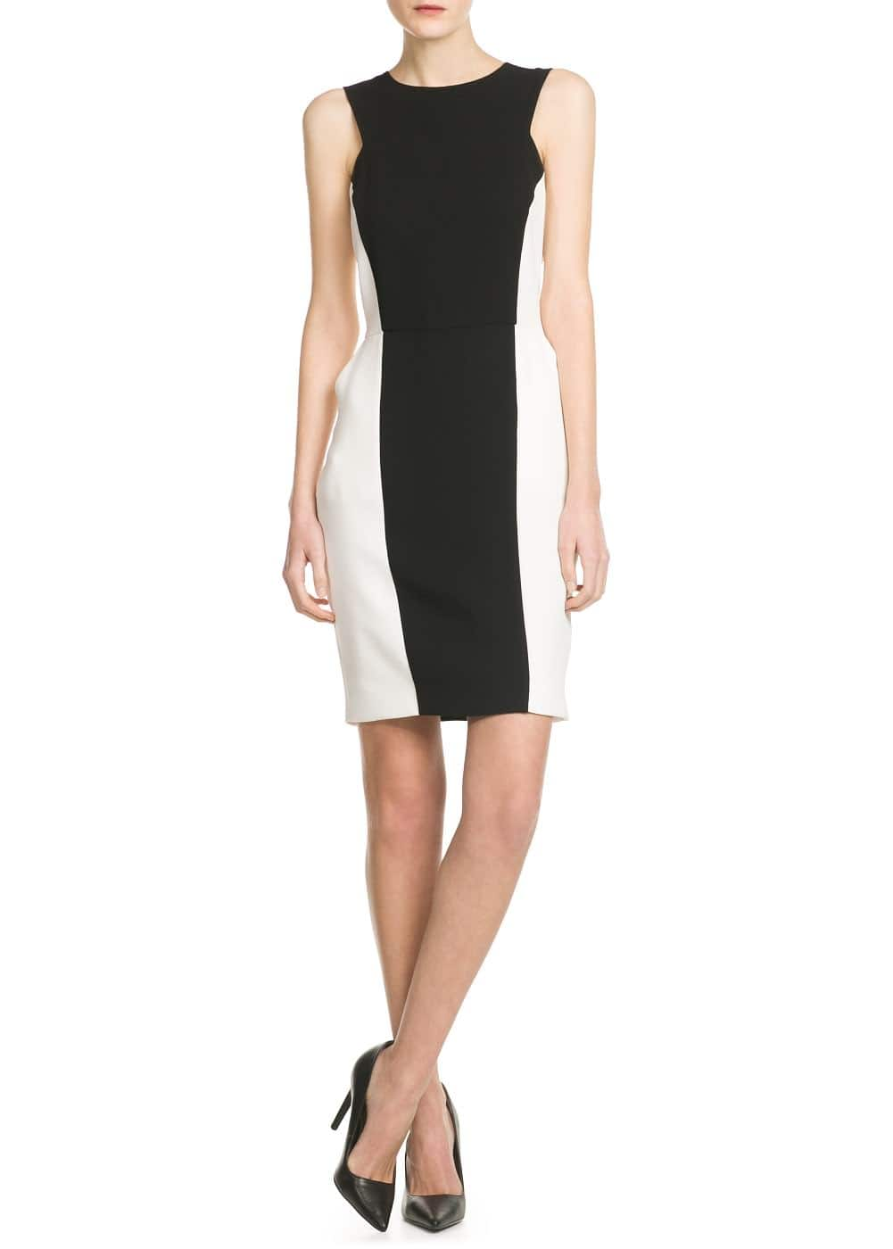 Bicolor fitted dress | MANGO