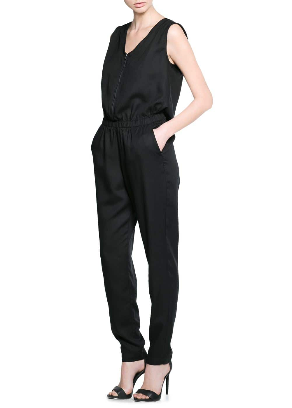 Zip soft fabric jumpsuit | MANGO