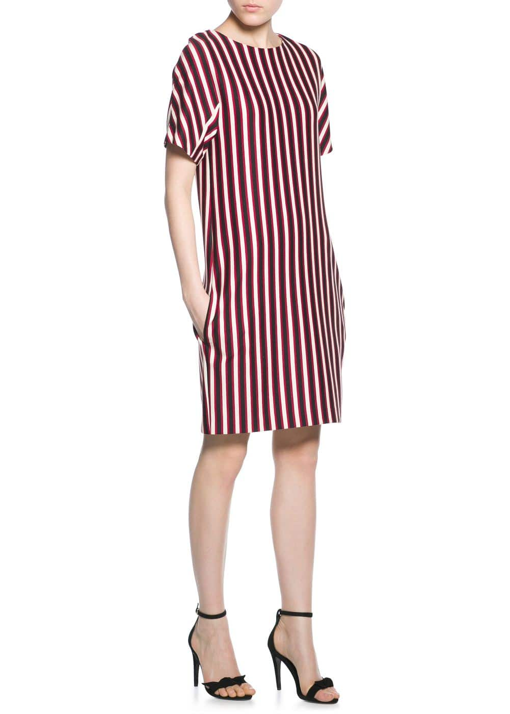 Striped textured dress | MANGO