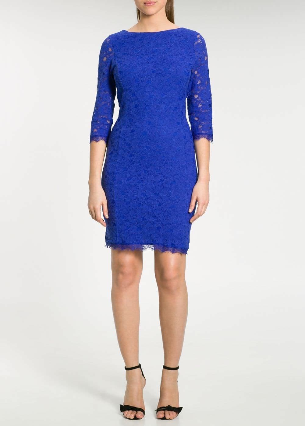 Blond lace fitted dress | MANGO