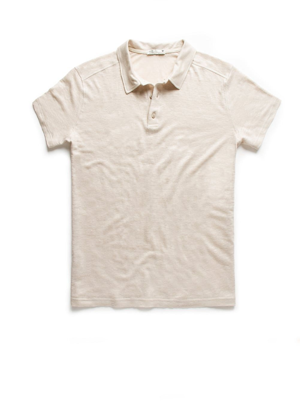 Side slit linen polo shirt | MANGO