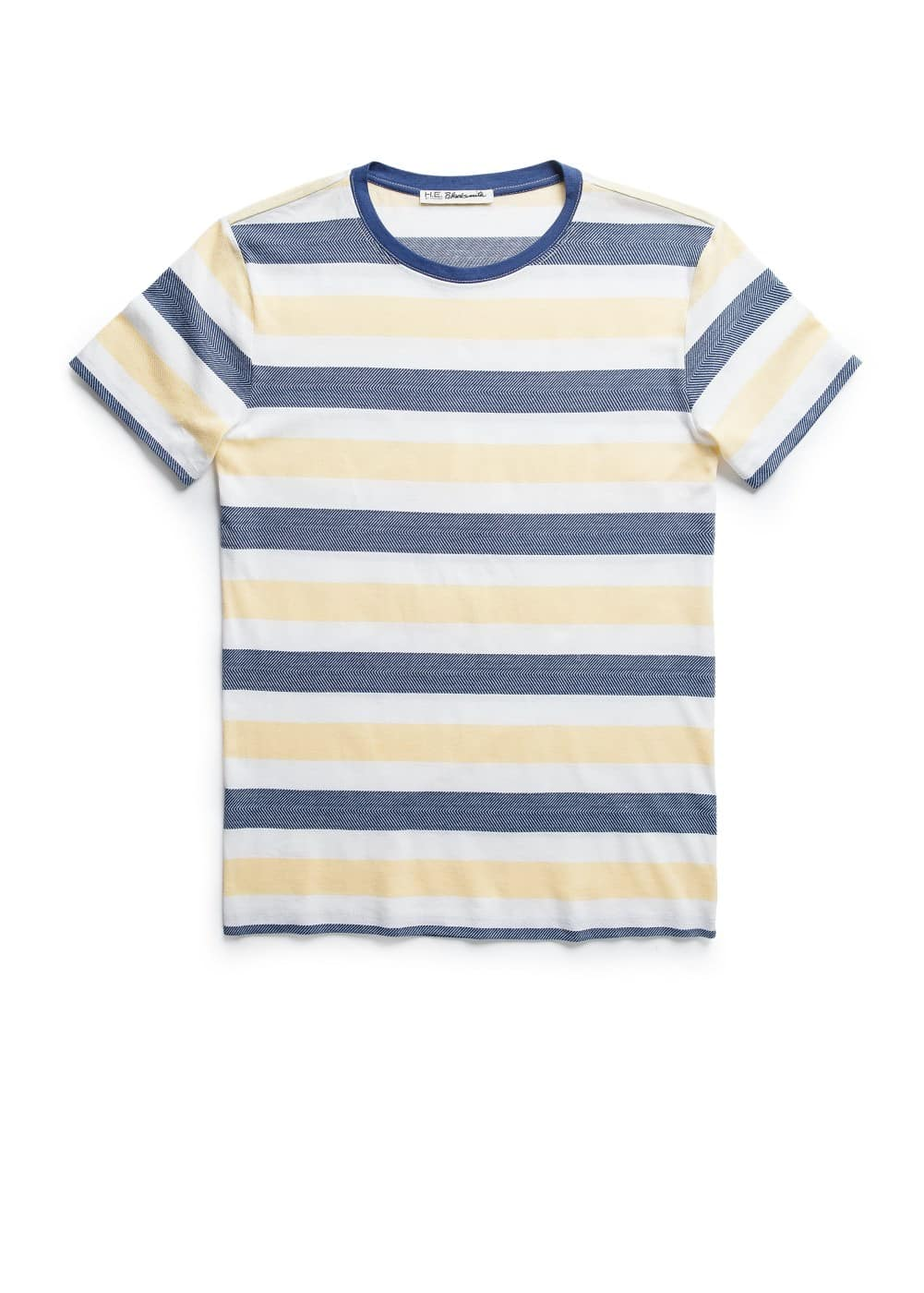Striped herringbone cotton t-shirt | MANGO MAN