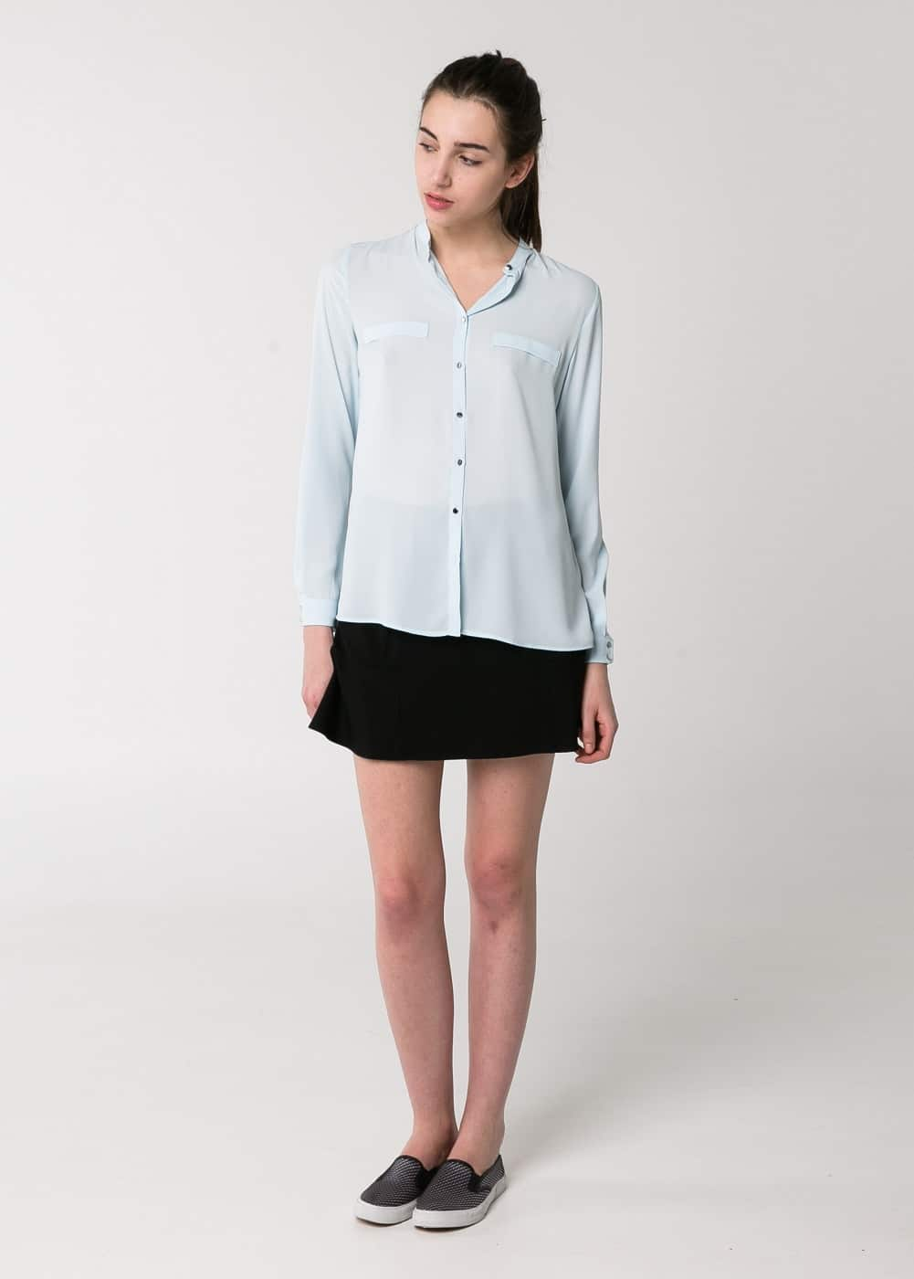 Mao collar flowy blouse | MANGO MAN