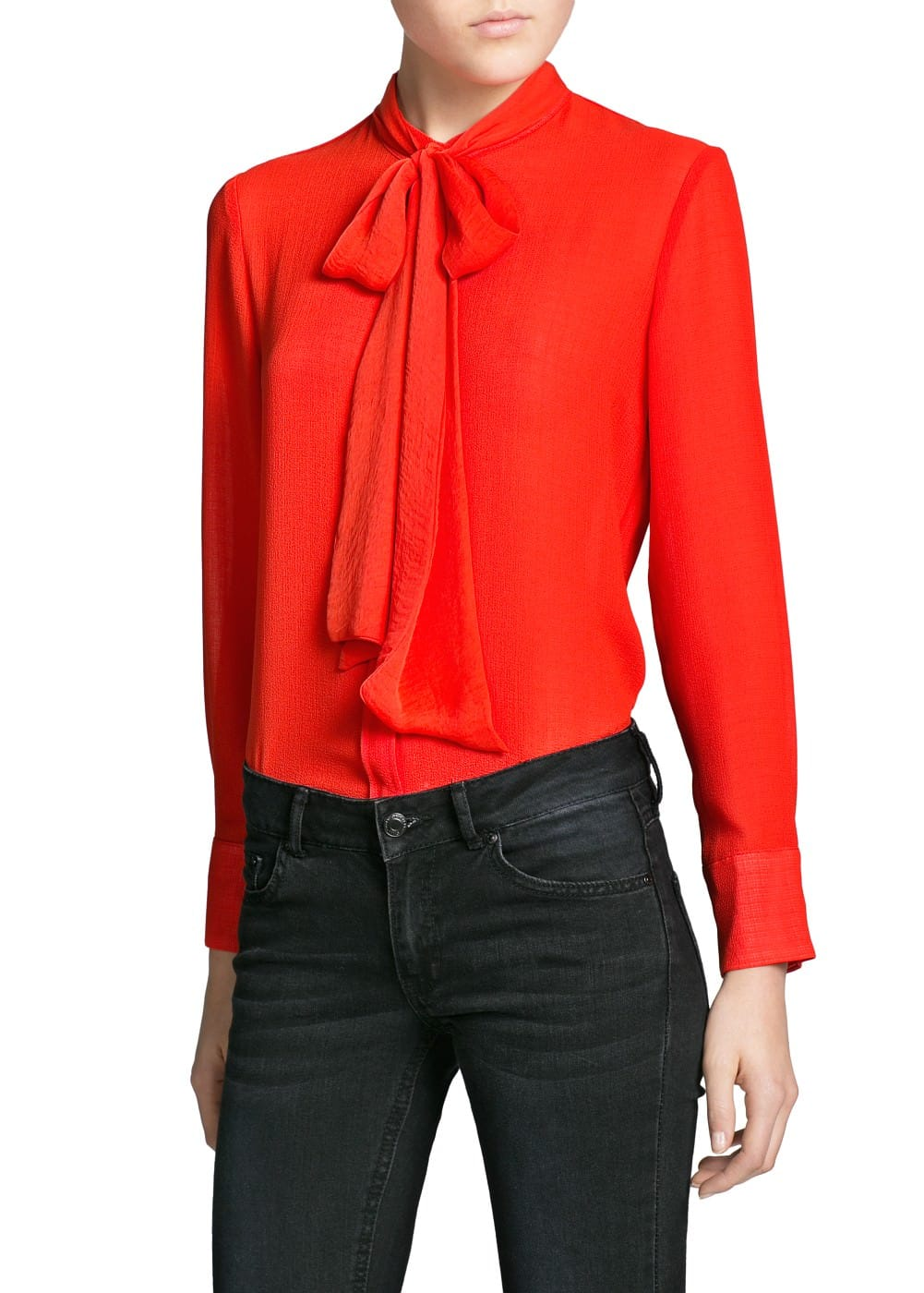 Bow textured chiffon blouse | MANGO MAN