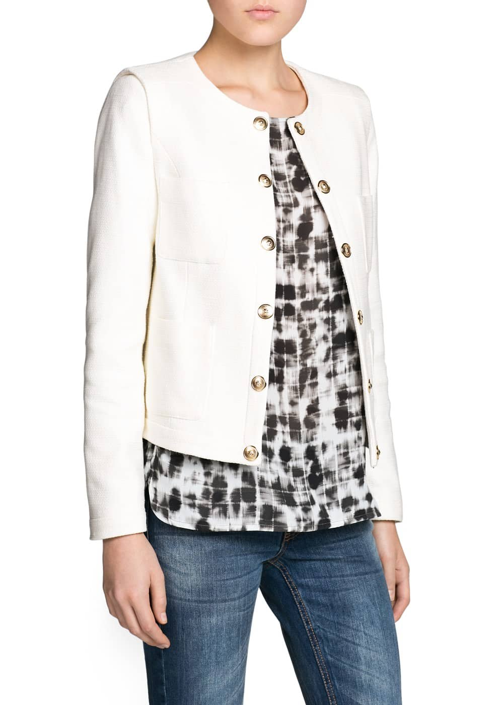 Metal button textured jacket | MANGO