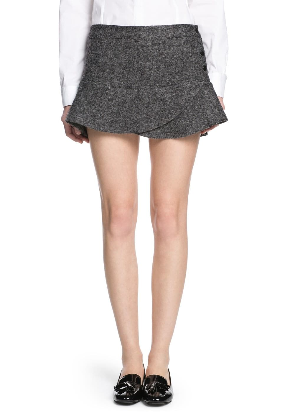 Wool-blend fluted miniskirt | MANGO